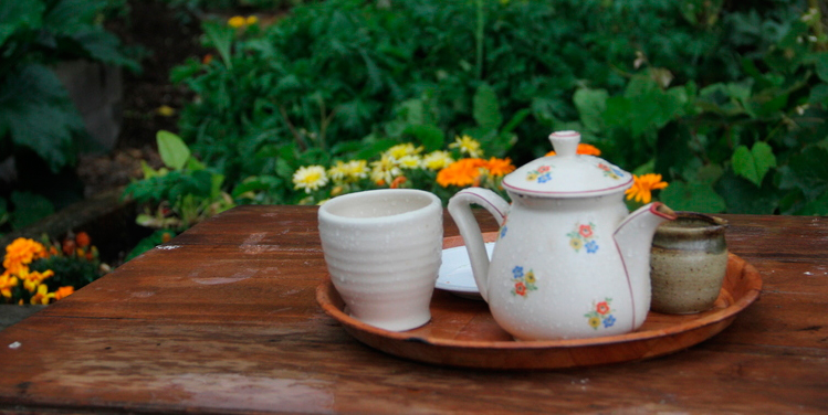 Cups of tea in the potager at Cbarn accommodation Raglan