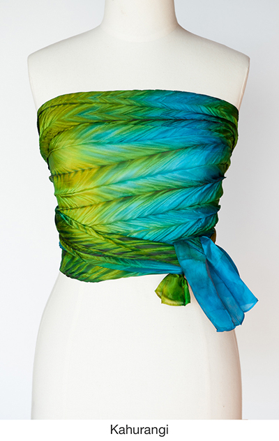 Kahurangi silk scarves and wrap by artist Jean Carbon in Raglan New Zealand