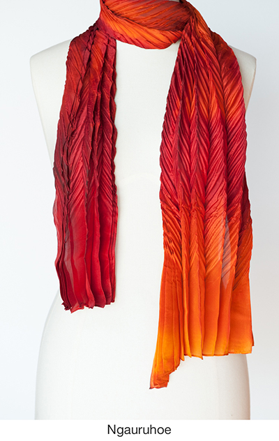 Ngauruhoe silk scarves and wraps by artist Jean Carbon in Raglan New Zealand