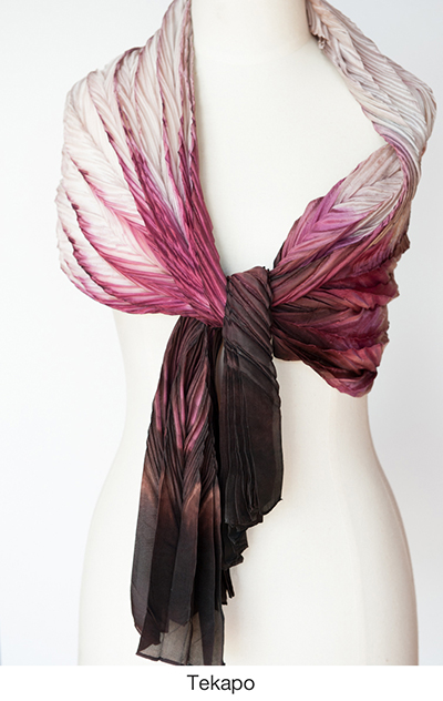 Tekapo silk scarves and wraps by artist Jean Carbon in Raglan New Zealand