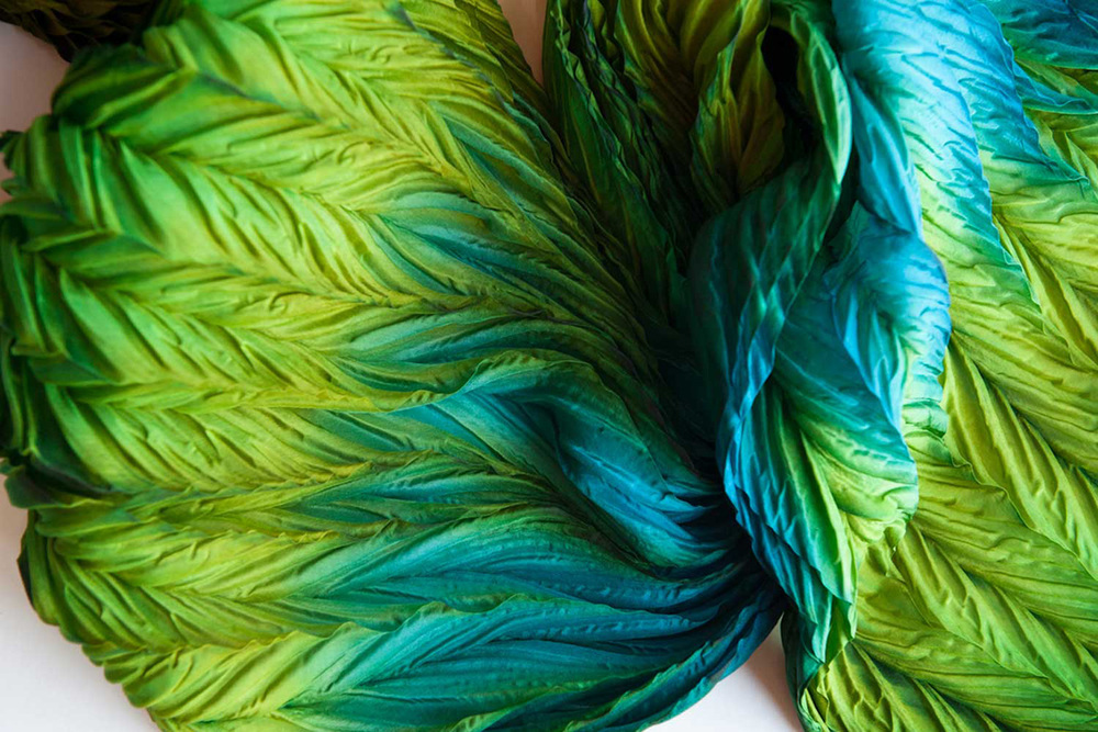 Silk scarves and wraps by artist Jean Carbon in Raglan New Zealand