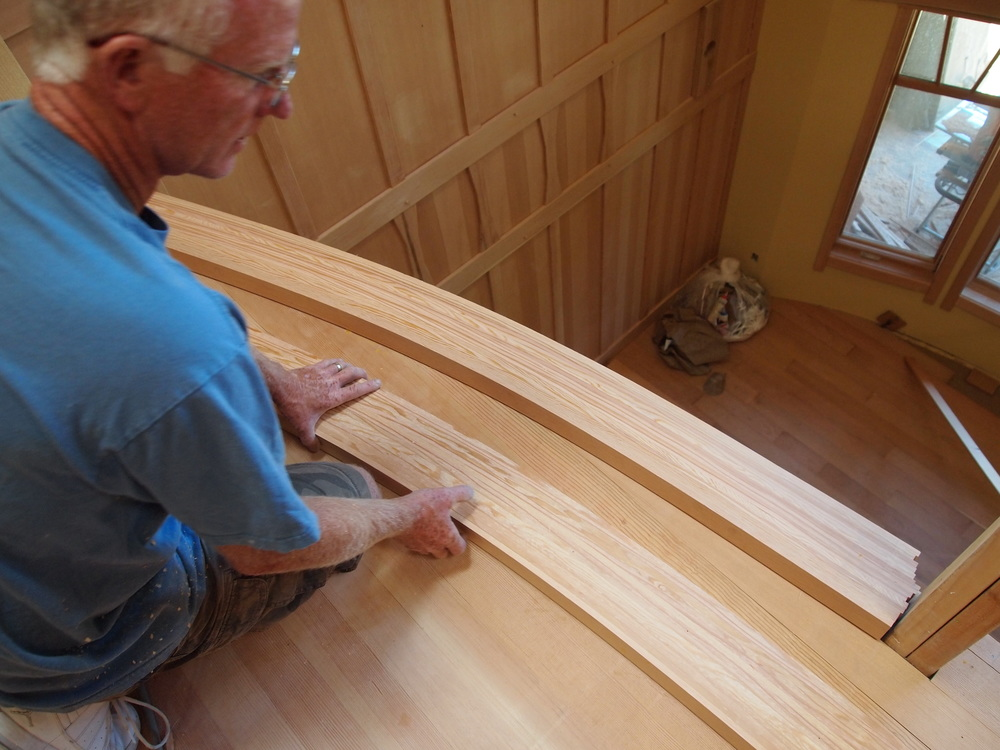 Creating a bowed landing using vertical grain fir