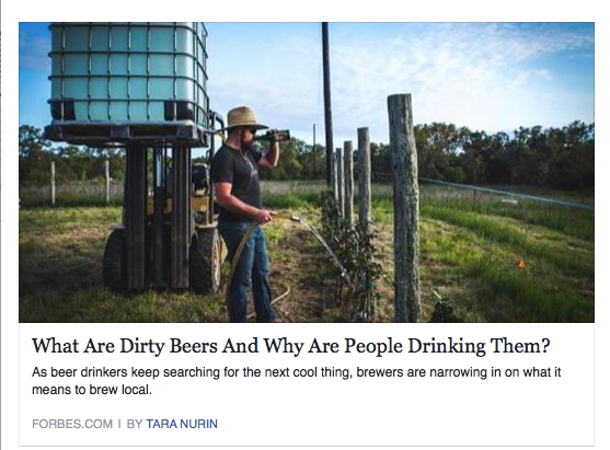 Forbes features Arrowood Farms in their article on dirty beers!