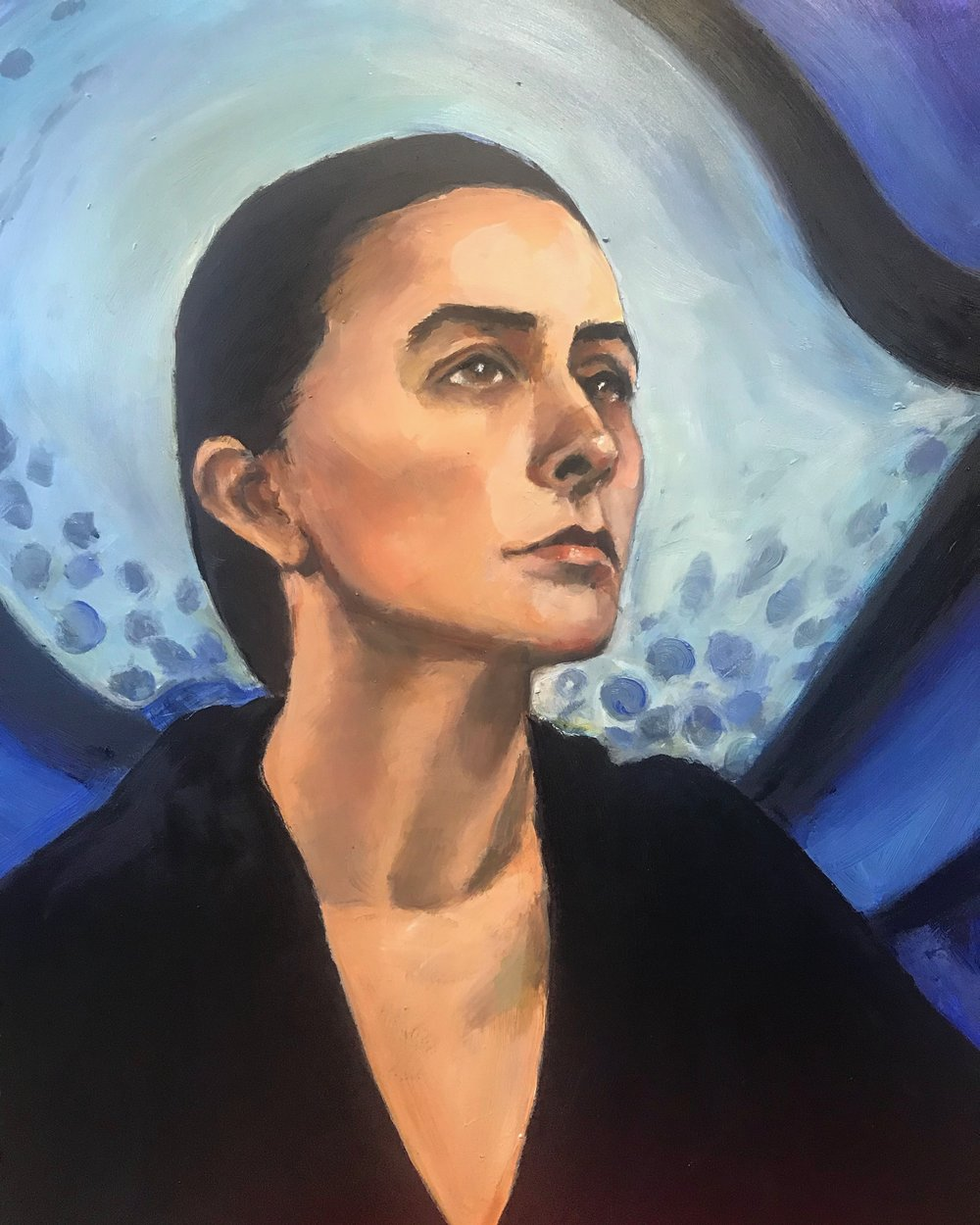 "Georgia O'Keeffe  18x24"" Oil on Board. "" I've been absolutely terrified every moment of my life - and I've never let it keep me from doing a single thing I wanted to do.""—G. O'Keefe"