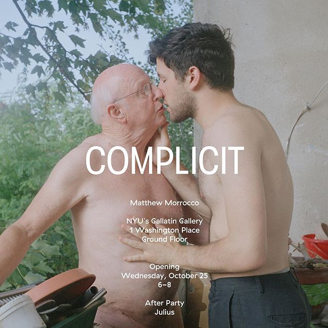 Complicit, a solo show of work by @matthew_morrocco is opening at Gallatin Gallery, 1 Washington Place, Ground Floor, Wednesday, October 25, 6-8pm.  Keep an eye out for the book, Complicit, published with MATTE editions by @mattelife in Spring 2018!  AFTER PARTY AT JULIUS' IN THE WEST VILLAGE!