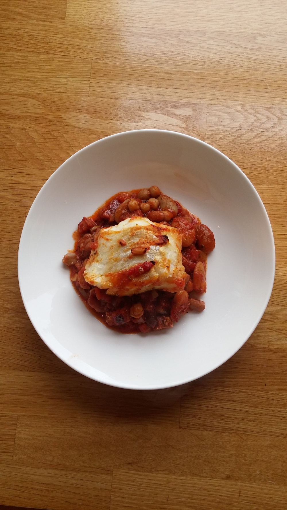 cod with chorizo and spicy beans