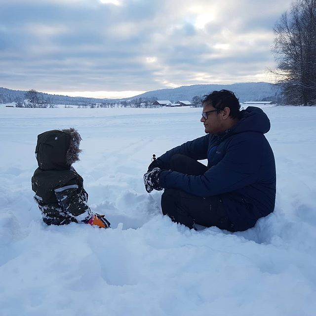 - Skal vi finne akebretten? - NEI, PAPPA. JEG VIL HA VÆRE I FRED. [- Should we go find the sledge? - No, Pappa. I want to be left in peace] *And then he sat contemplatively in the snow watching the sunrise for a full five minutes*  After getting over the wonder/shock of what kind of two-year-old I was father to, it became a wonderful moment that I hope never to forget.
