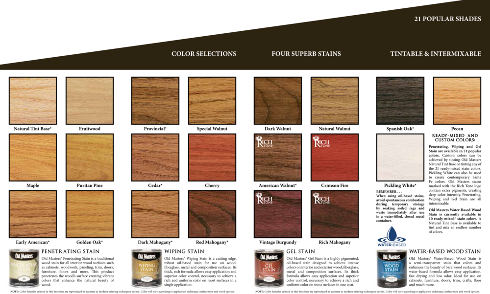 Old Masters Stain Products Days Paints amp Design