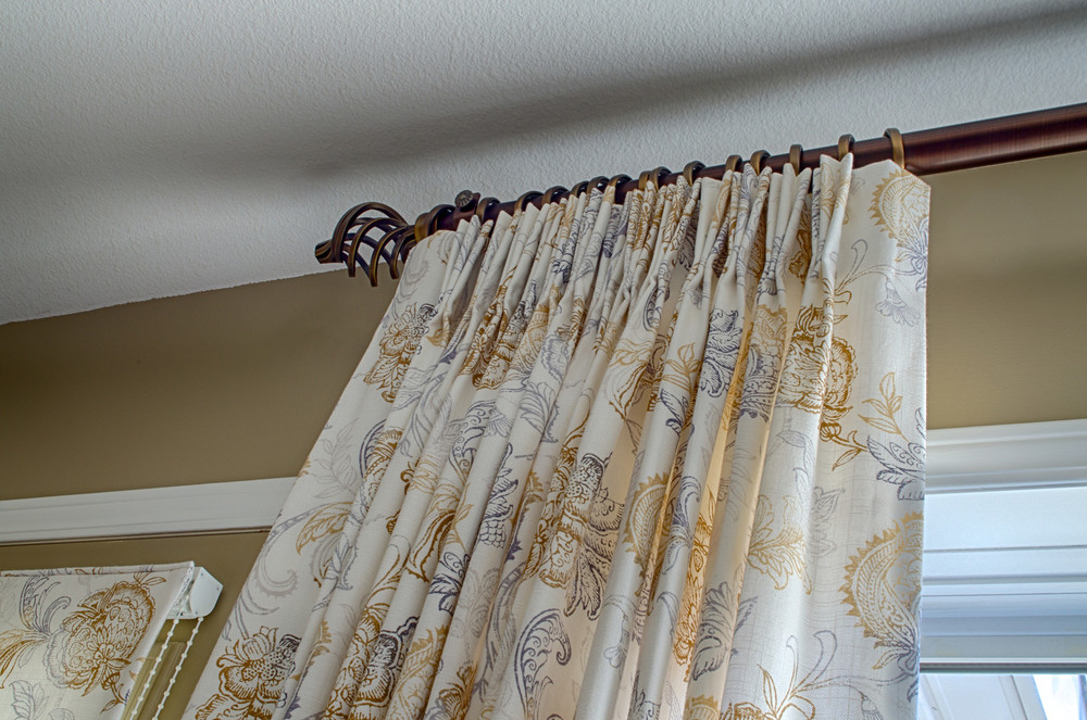 <p><strong></strong>Days Design Custom - Custome triple pinch pleat drapery panels, Soletex antique gold rod and finials