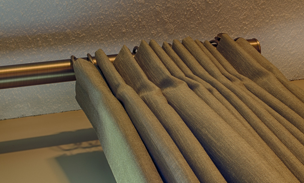 <p><strong></strong>Days Design Custom - Custom inverted box pleat drapery panels, Tritex Fabrics-Major, color Peppercorn