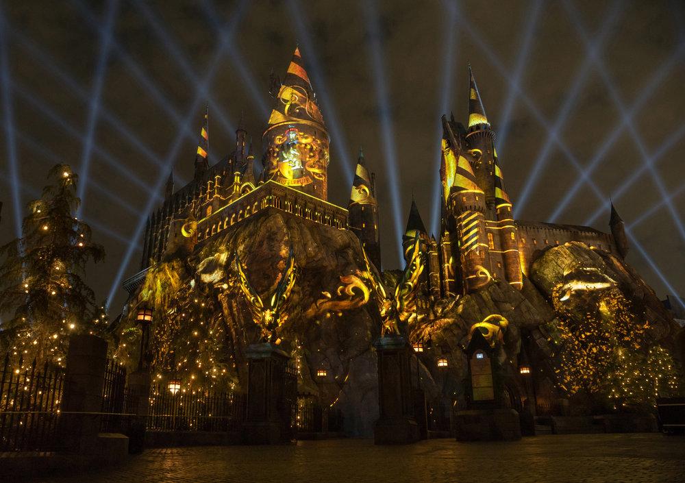 The NighttimeLights at Hogwarts Castle (Hufflepuff) - WWoHP at USH.JPG