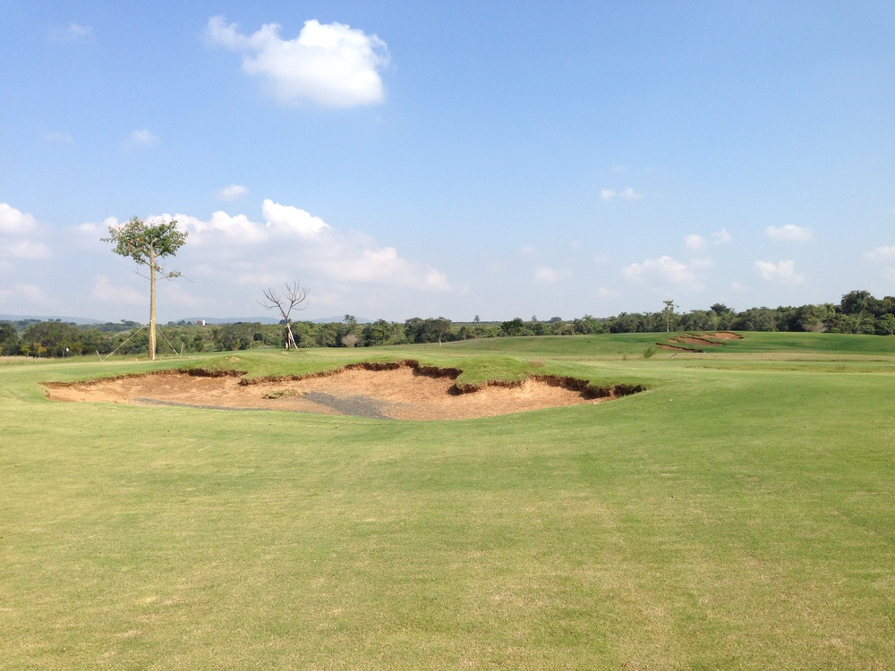 After image of the same bunker, now fitting in better with the style of the rest of the course.