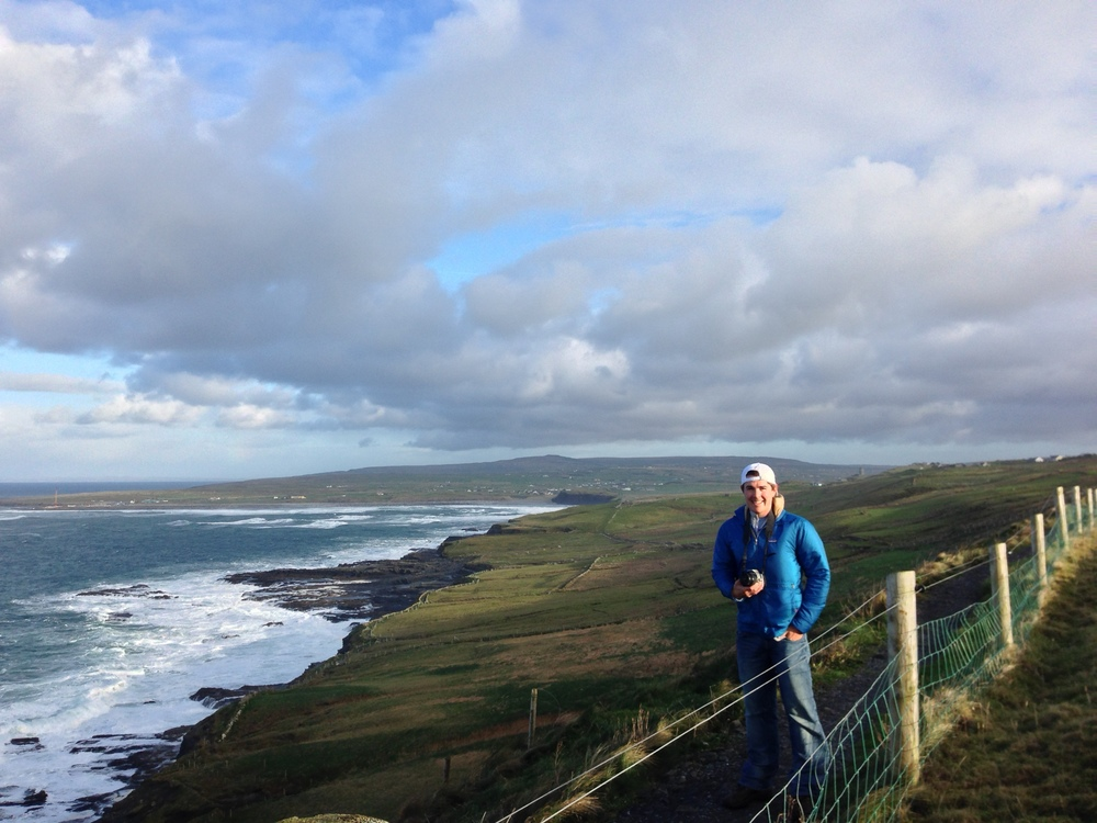 Battling wind, wire, and backwards waterfalls (waterflies?) while walking the Cliffs of Moher. Photo credits to the wife, partner in 2014 and always.