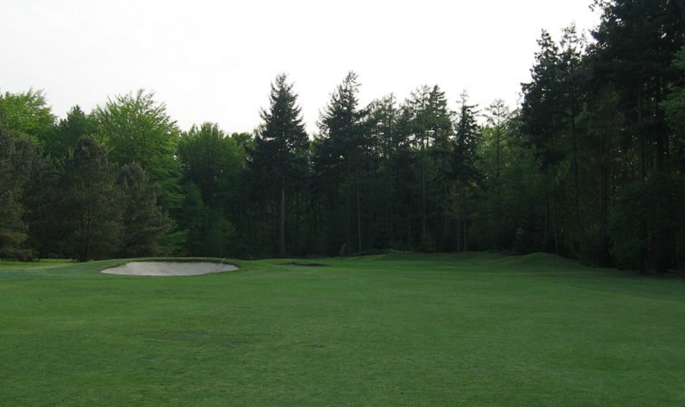 A before image of the 11th green approach shot.  For most of the hole, the left greenside bunker was blind while the right one was always blind.