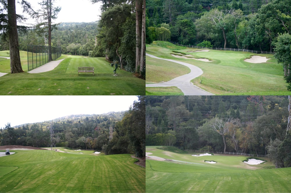 Before (top) and after (bottom) comparisons of the 13th at Orinda