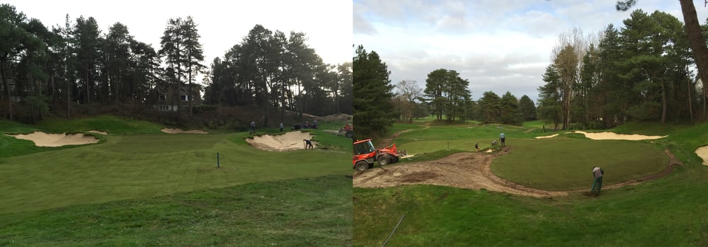 The front and back view of the freshly grassed 14th green at Hardelot Les Pins