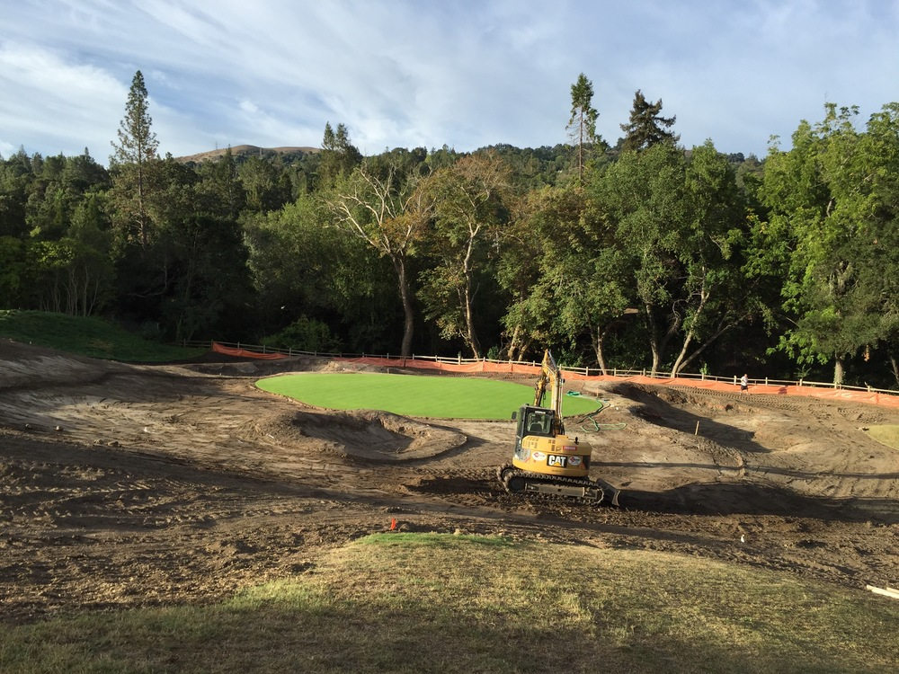 Sunrise while putting on the finishing touches to the redesigned 13th green surrounds at Orinda Country Club