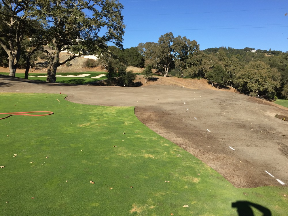 The wonderfully open 2nd hole green expansion all finished off, painted, and ready for grassing.