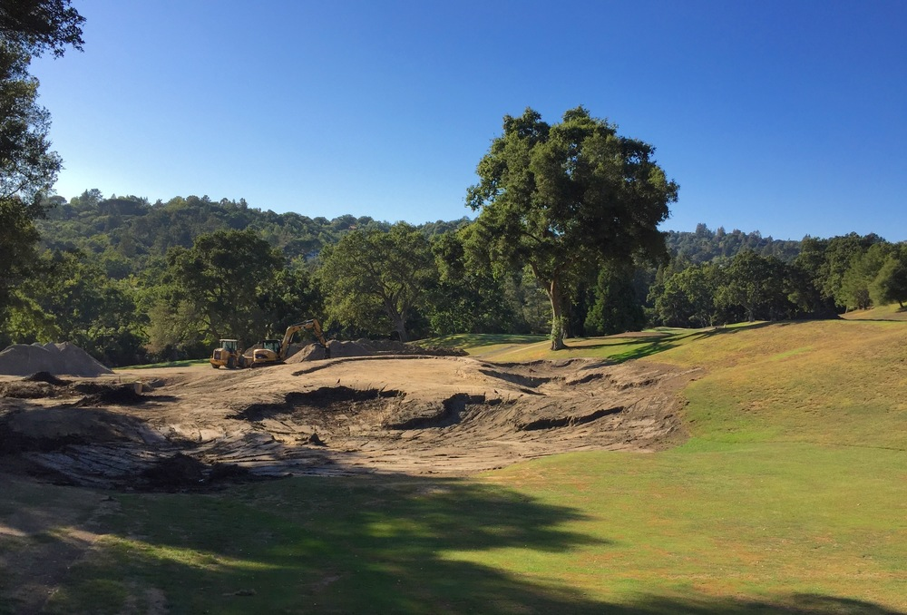 The 8th hole bunkers freshly shaped in the dirt
