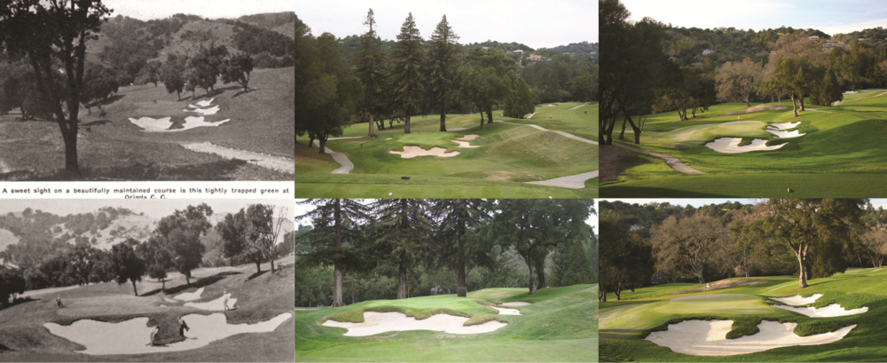 A look at the 8th hole historically, pre-restoration, and post-restoration.