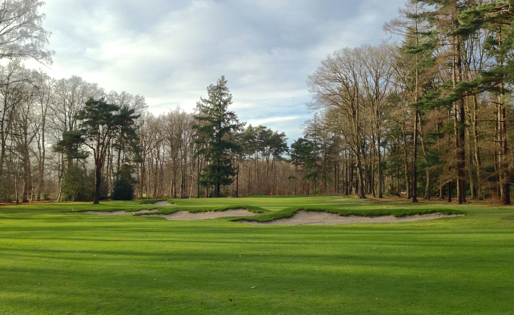 The 17th hole, with its angled cross bunkers, was the first hole we worked on at Sallandsche.
