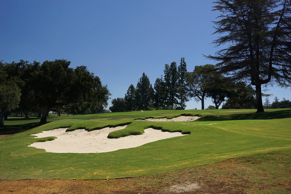 The first hole at Redlands just after re-grassing and sand installation.  The bunker style is meant to both flow with the existing landforms and emulate some of MacKenzie's styles found throughout California.