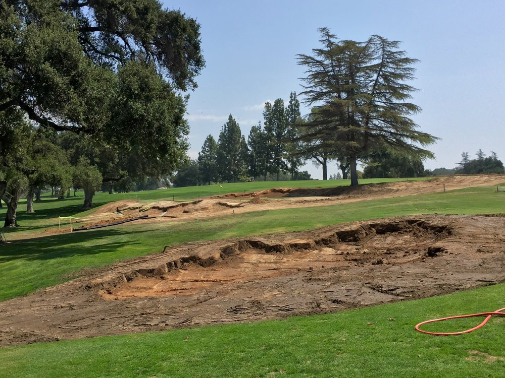 The first hole from the far landing area with the new bunkers just shaped.