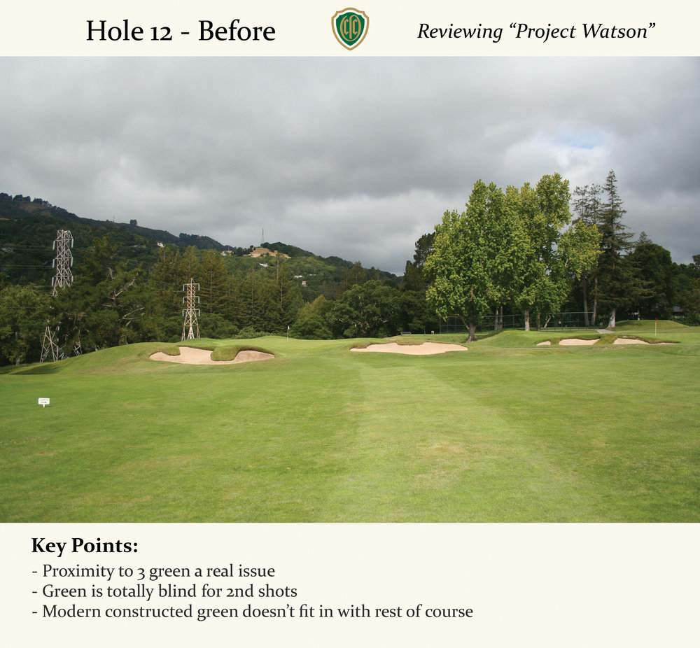 The 12th was once a short par 5 playing over a dip to a fill pad.  This green was constructed in more modern times.