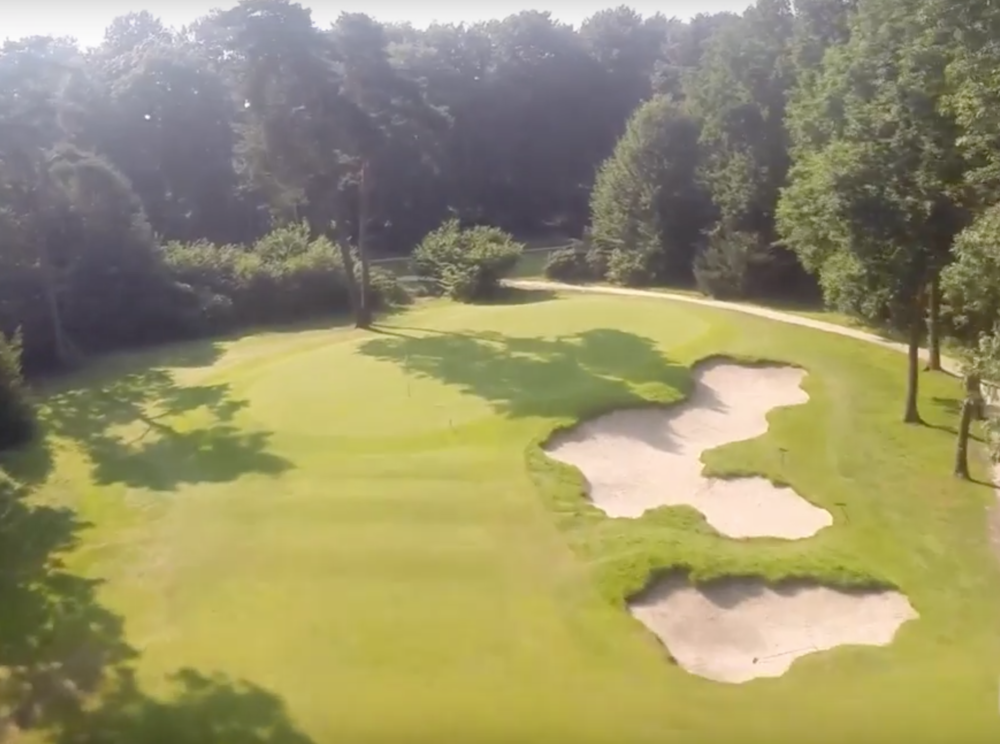The 9th hole bunkering at Sallandsche looks much different from above.