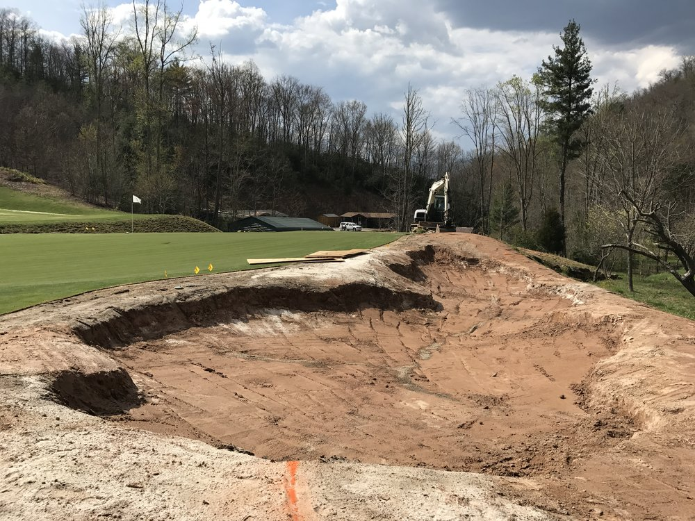 The back bunker after finishing shaping.  This was a rare case where keeping the existing drainage in a bunker renovation was possible.
