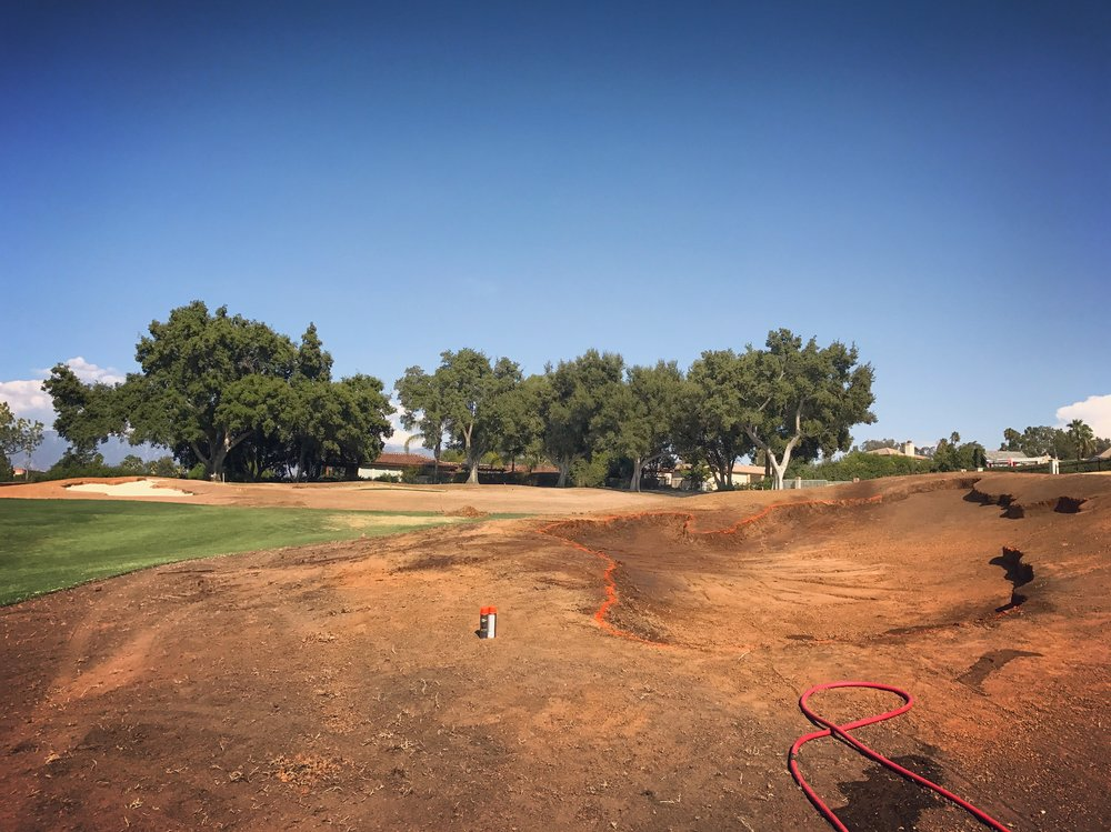 The 3rd hole after the final bits of shaping.  To the right foreground is the new approach bunker 50 yards short right of the green.