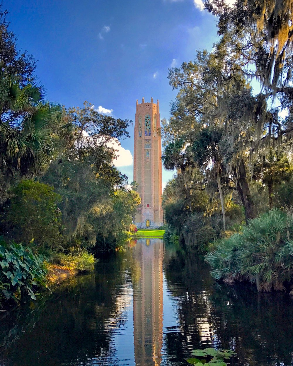 The color and texture of Bok Tower is much more impressive when viewed up close.