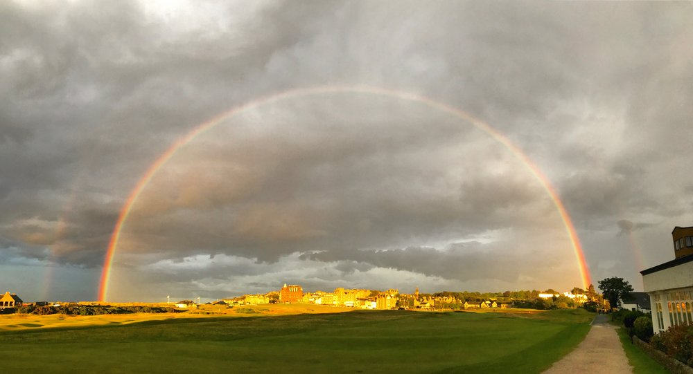"I was welcomed back to the Home of Golf with a full rainbow.  Not sure how much I believe in ""signs,"" but this sure felt like one."