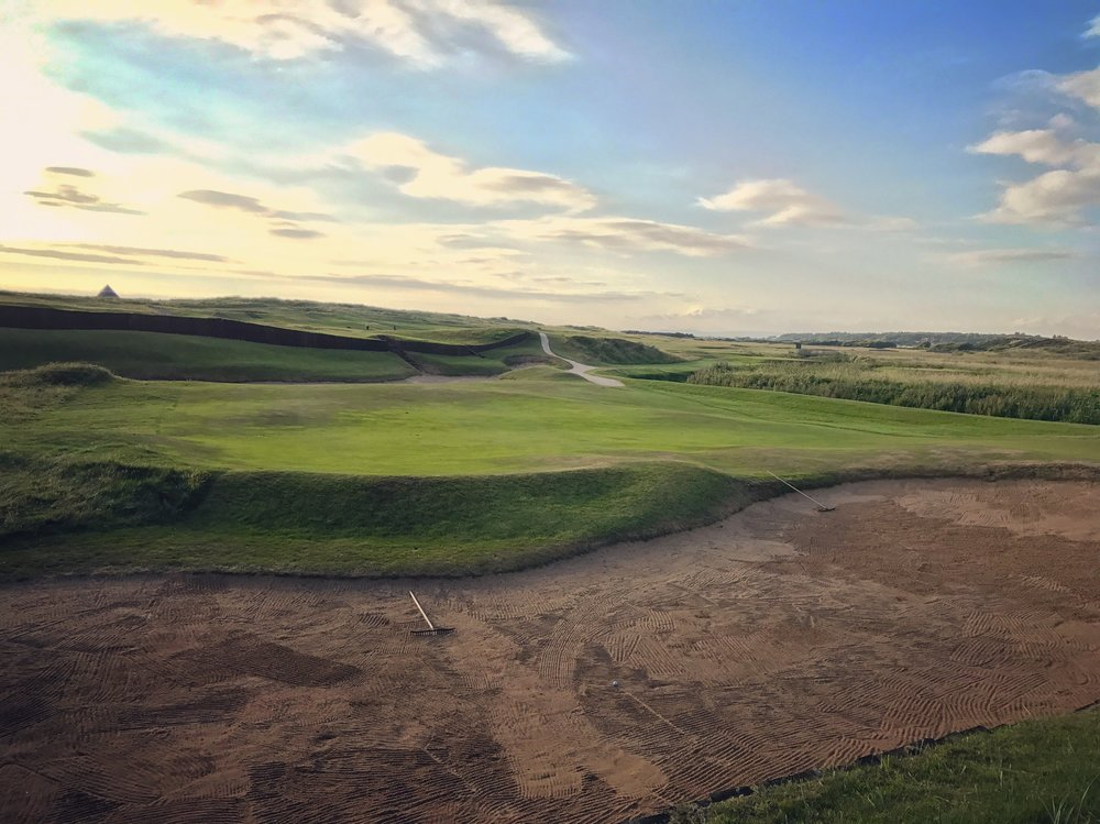 The par 5 3rd at Prestwick challenges both the aerial and ground game while being as unique and fun a hole you will find anywhere.  Yes, that is my ball after not taking my own advice to lay safely back of the Cardinal Bunker.