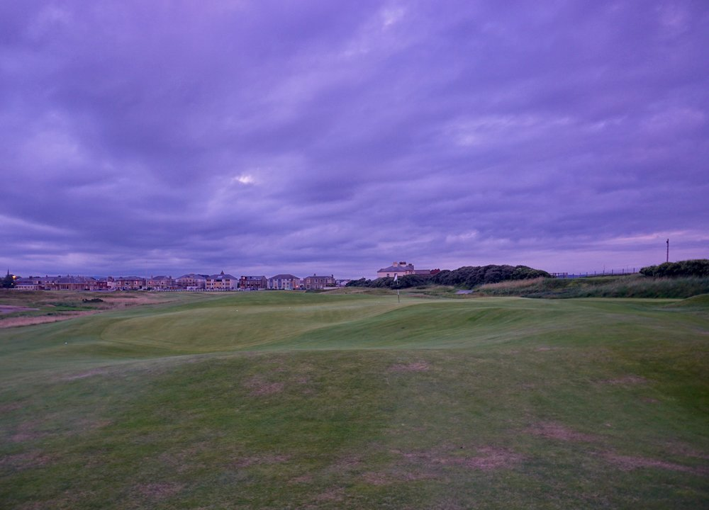 The green on Sea Headrig at Prestwick is one of many strongly contoured but very fun greens encountered at Prestwick.