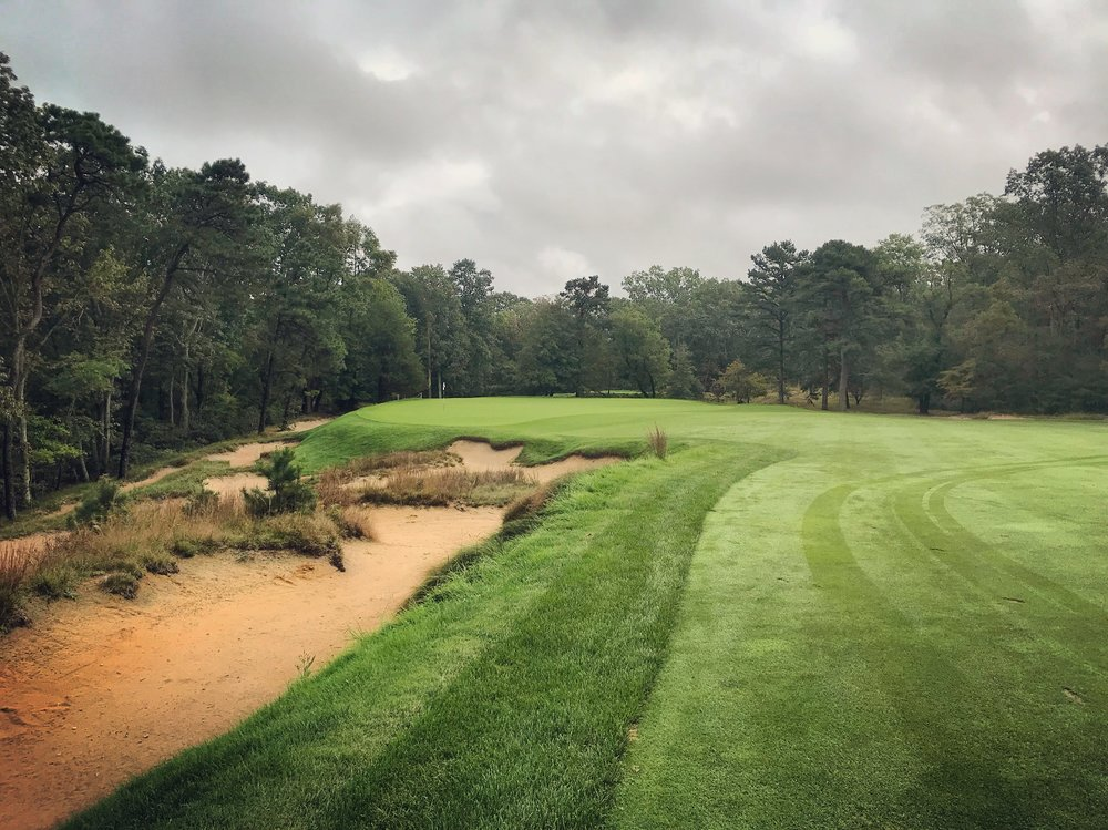 Rugged, beautiful, and strategic—the bunkering at Pine Valley. This is hole 13, probably my favorite on the course.