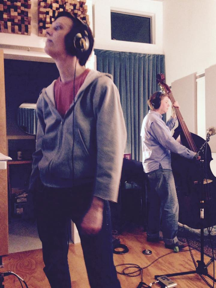 Head engineer, Ashley and Julie on bass, at Crosspick Studio, aka BNK World Headquarters.