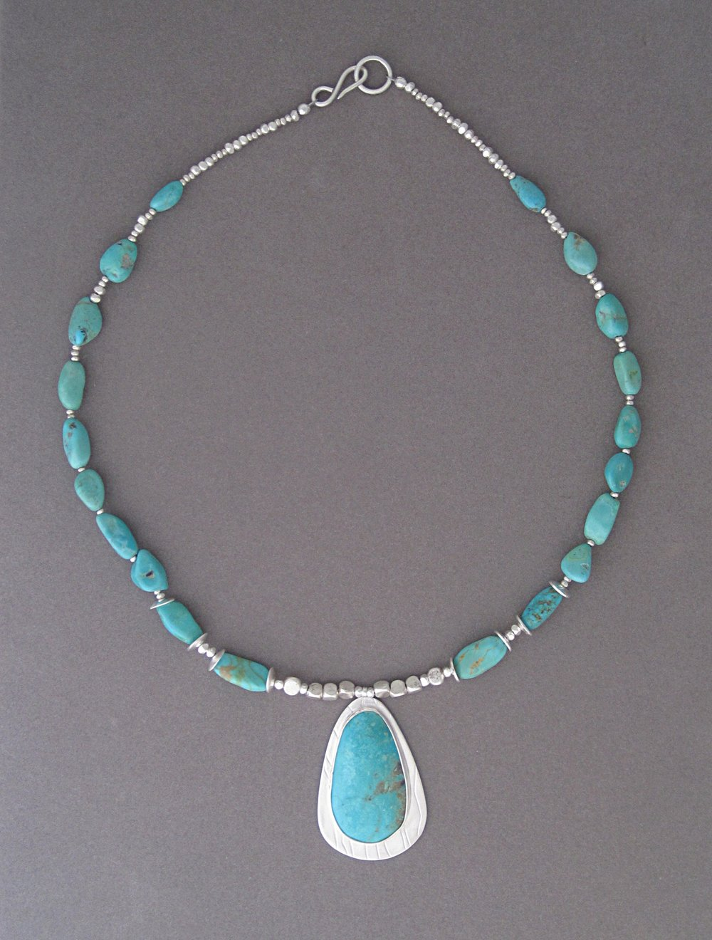 Custom American turquoise necklace with sterling silver