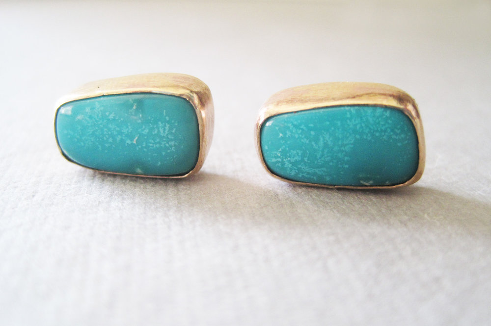 14k gold fill and natural turquoise post earrings