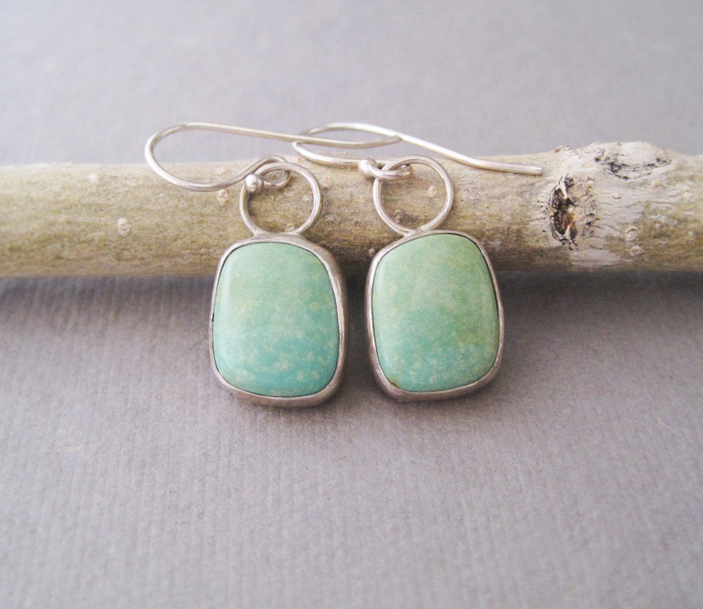 Sterling silver, natural turquoise earrings