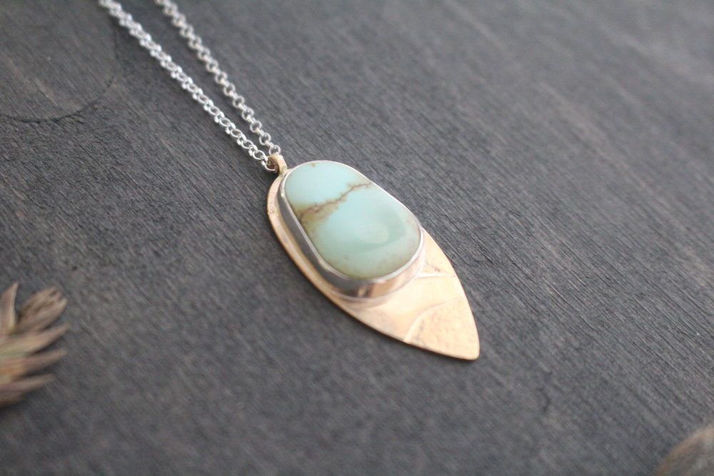Canyon Necklace - 14k gold fill, Carico American turquoise (Nevada), silver bezel, sterling silver chain