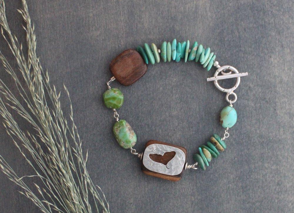 American turquoise, sterling silver, ebony & teak wood bracelet