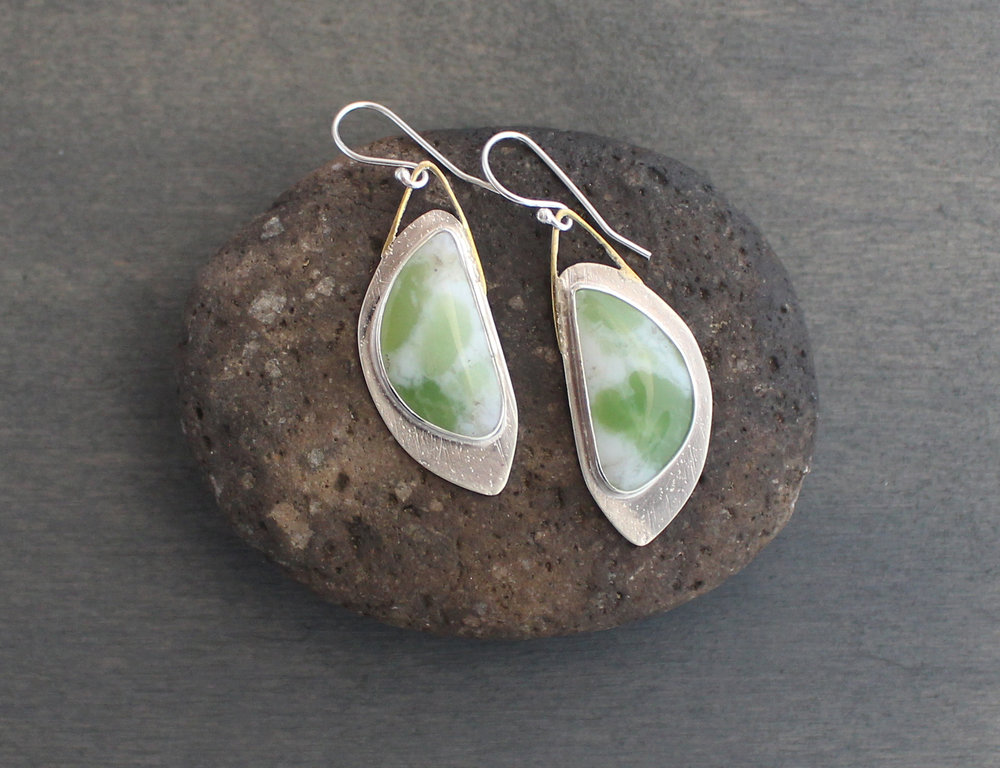 Opal Moons - Peruvian opals, textured sterling silver
