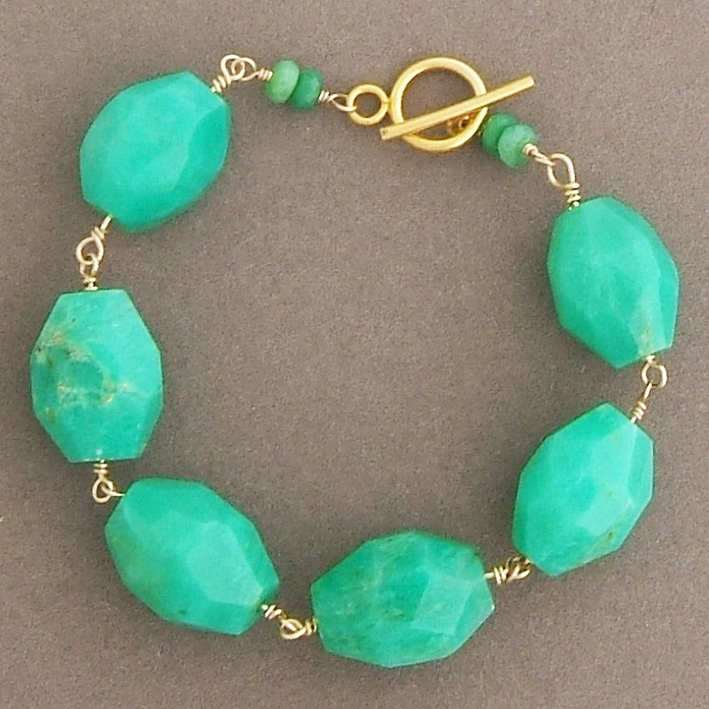 Chrysoprase beads, 14k gold fill metal