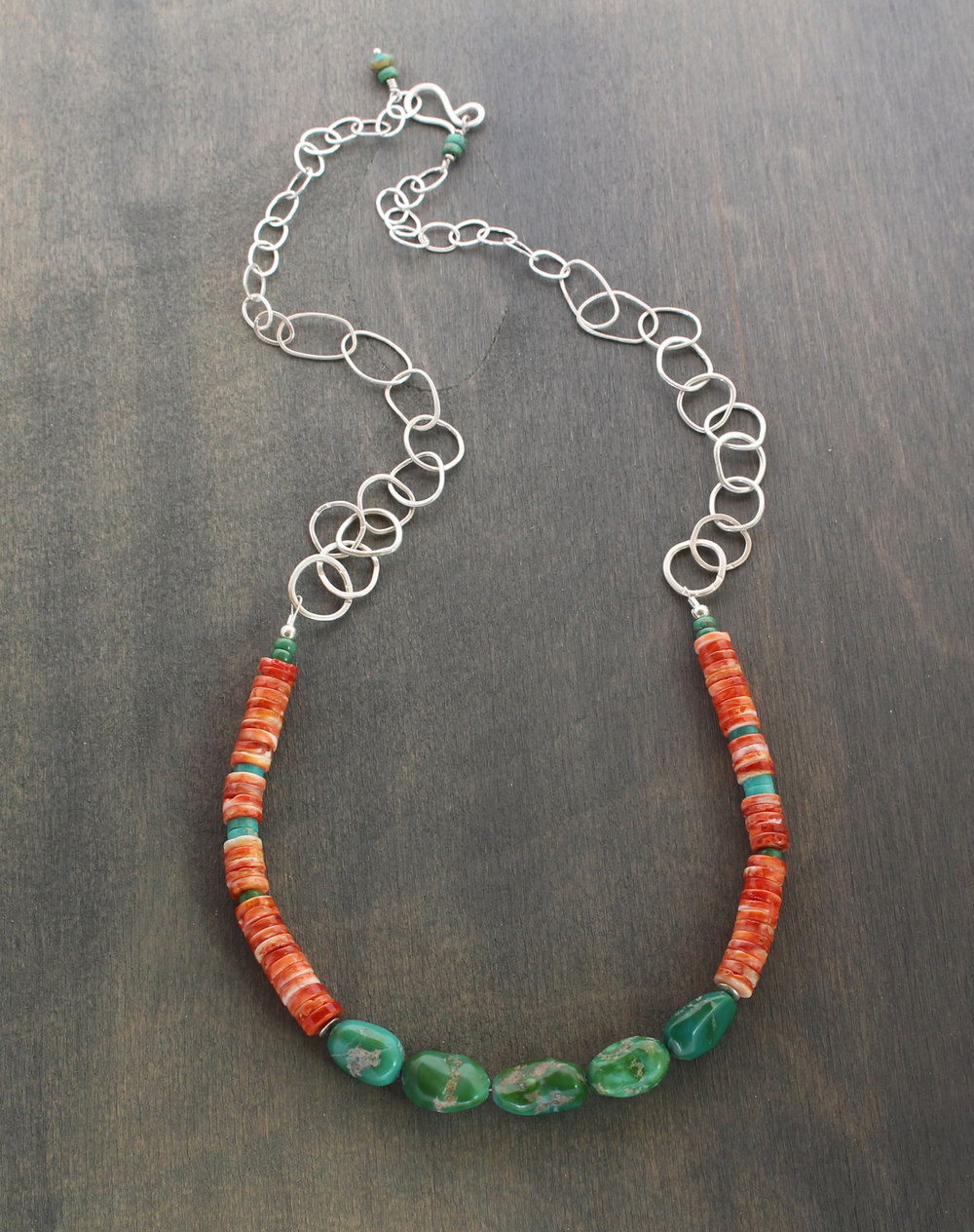 Spiny oyster shell, American turquoise beaded necklace with hand forged sterling silver chain.