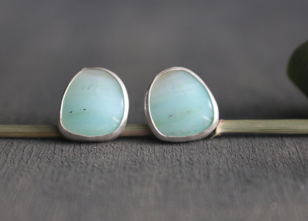 Peruvian opal sterling silver stud earrings.