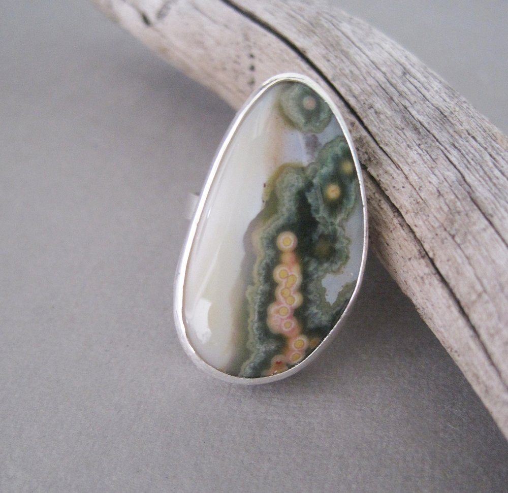 Ocean jasper sterling silver ring.