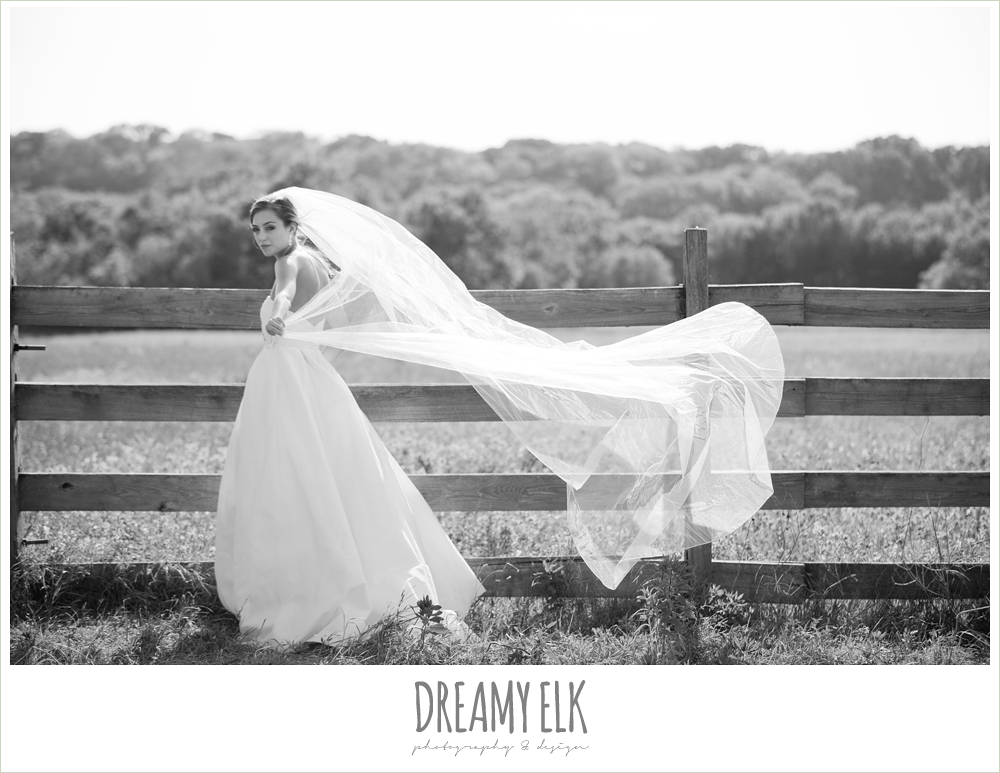 jessica, rustic bridals, college station, texas, long veil blowing in the wind