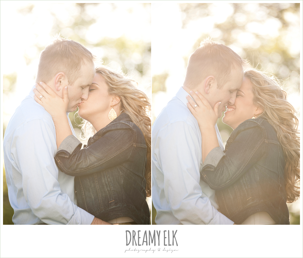 couple kissing, heather and clint, rustic engagement photo, college station, texas