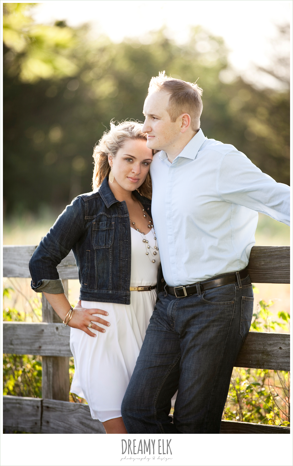heather and clint, rustic engagement photo, college station, texas